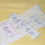 180匁ボーダー柄の捺染タオル(灰色ヘム)